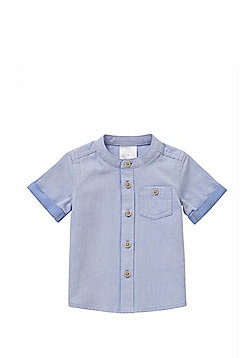 F&F Signature Short Sleeve Grandad Collar Shirt - Blue