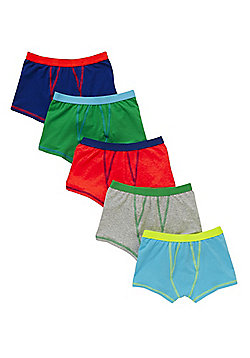 F&F 5 Pack of Contrast Trim Trunks - Multi