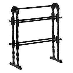 Wood 5 Rung Towel Rail / Drying Rack - Black