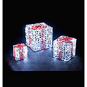 3pc Set LED Acrylic Gift Boxes White Box LED & Red Bow