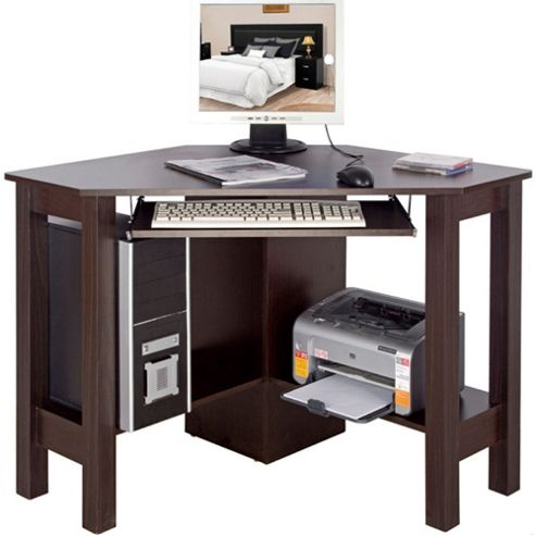 Buy horner corner office desk computer workstation walnut from our office desks tables - Tesco office desk ...
