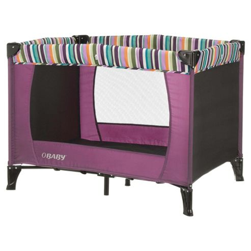 Obaby Naptime Bassinette Travel Cot, Purple Stripe