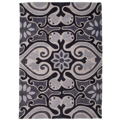 Tesco Ethnic Rug Black/White 120X170Cm