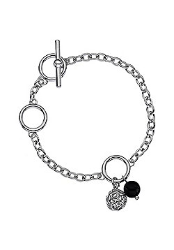 IT Diamonds Rhodium VENUS Diamond T-Bar Black Agate And Bead Charms Bracelet