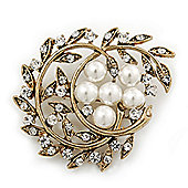 Vintage White Glass Pearl Crystal Floral Brooch In Burn Gold Metal - 5cm Width