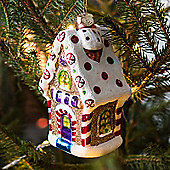 Kitsch Glass Gingerbread House Christmas Tree Decoration