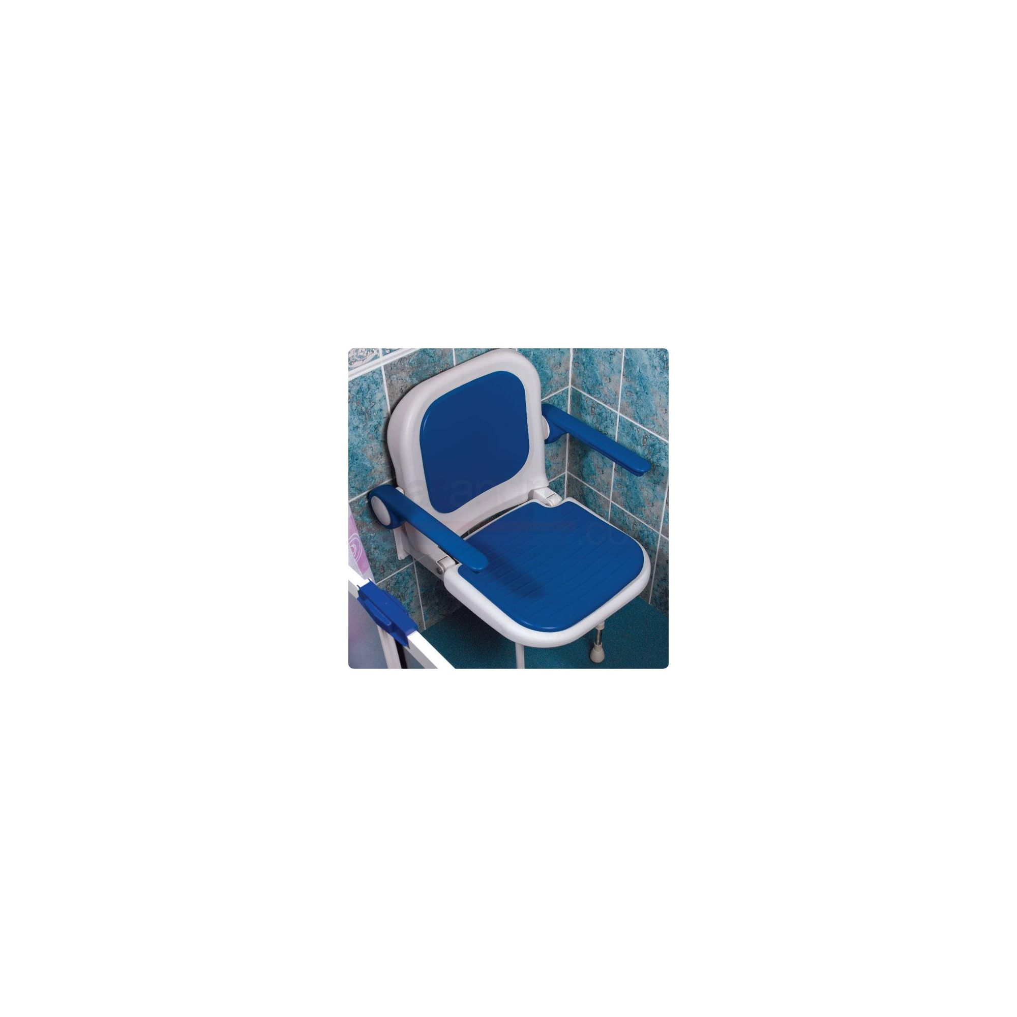 AKW 4000 Series Standard Fold Up Shower Seat Blue with Back and Arms Blue at Tesco Direct