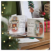 Fireplace Scene Christmas Cards, 10 pack