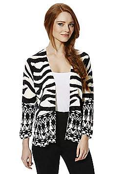 F&F Multi Pattern Open Front Cardigan - Black & White