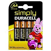 Duracell AA 4 Alkaline Batteries