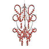 Beaded Ceiling Light Shade Chandelier in Chrome & Red