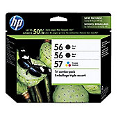 HP Tri-Combo Pack containing 2 x HP 56 (Black) 19ml Print Cartridges + 1 x 57 (Tri-Colour) 17ml Print Cartridge (Triple Pack)