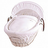 Izziwotnot White Gift Wicker Moses Basket - White