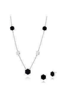 Gemondo 925 Sterling Silver Black Onyx Hexagonal Prism Stud Earring & 45cm Necklace Set