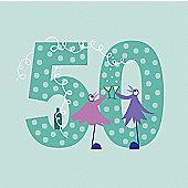 Holy Mackerel Greetings Card-50th Birthday