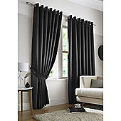 Contemporary Dot Pattern Lined Eyelet Curtains - Black