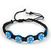 Light Blue/Black Floral Wooden Friendship Style Cotton Cord Bracelet - Adjustable