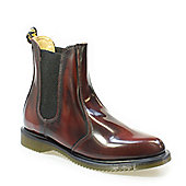 Dr Martens Flora Womens Burgundy Classic Rub OffLeather Boots - Burgundy