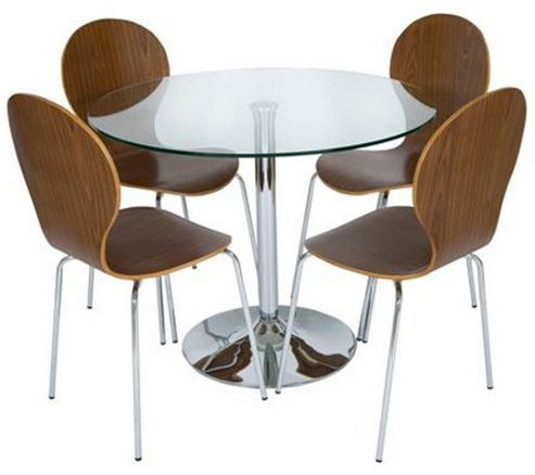 LEVV 5 Piece Dining Table Set - Medium Wood