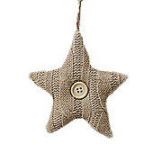 Beige Coloured Knitted Star Christmas Tree Decorations with Wooden Button