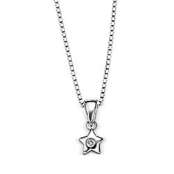 Children's D for Diamond Silver Star Pendant