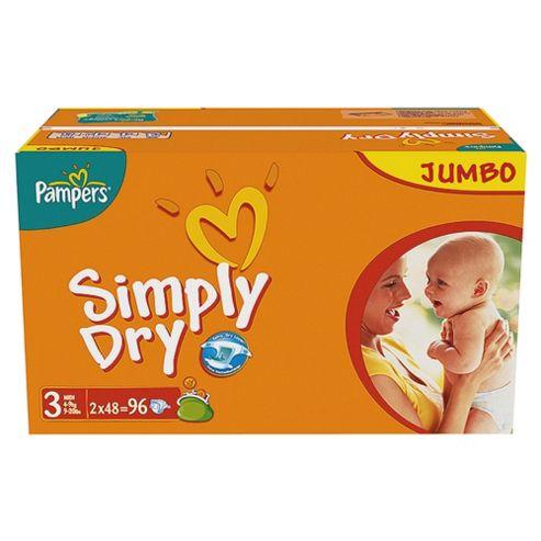 Pampers Simply Dry Jumbo Pack Midi 96