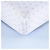 Tescocot Bed2 Pk Print/Plain Sheets, Blue