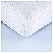 Tescocot Bed2 Pk Print/Plain Sheets, Blue