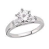 Rhodium-Coated Sterling Silver Solitaire Dress Ring