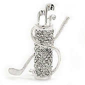 Clear Crystal 'Golf Clubs' Brooch In Silver Plating - 5.5cm Length