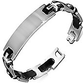 Urban Male Men's Stainless Steel & Rubber Link ID Bracelet
