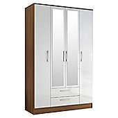 Birlea Lynx 4 Door 2 Drawer Wardrobe with Mirror - Walnut and White