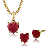 Gemondo 9ct Yellow Gold 4 Claw Set Ruby Heart Stud Earring & 45cm Necklace Set