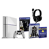 PS4 (White) With BloodBorne, The Last of Us, GP3 Headset, PSPlus (3Mth)