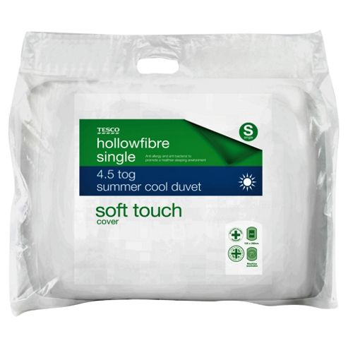 Tesco Soft Touch Anti- Allergy and Anti- Bacterial 4.5 Tog Duvet - Single