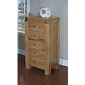 Ametis Santana Blonde Oak 5 Drawer Narrow Chest