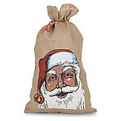 Large Hessian Jute Drawstring Father Christmas Sack Gift Bag