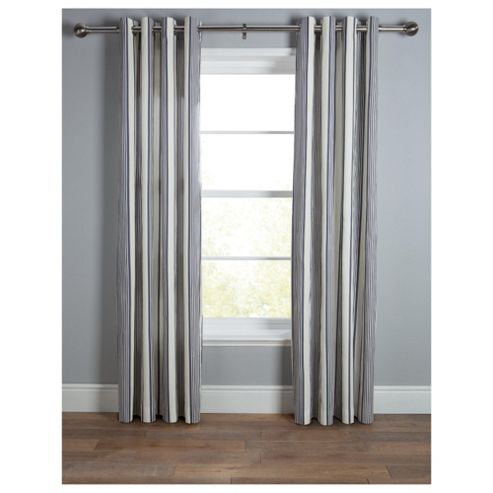 Tesco Ticking Stripe Lined Eyelet Curtains W168xL183cm (66x72