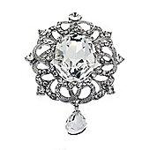 Rhodium Plated Clear Crystal Majestic Brooch