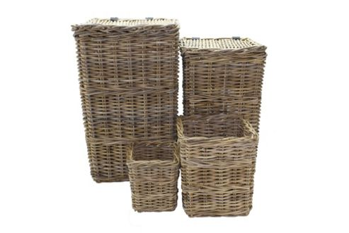 Wicker Valley Rattan Square Linen Basket with Bin in Grey (Set of 4)