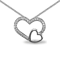Jewelco London Rhodium Coated Sterling Silver CZ double Heart Pendant - 18 inch Chain