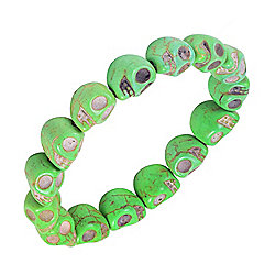 Urban Male Cracked Skull Green Ceramic Bead Bracelet