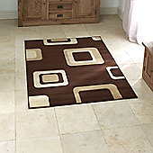Think Rugs Diamond Brown Budget Rug - 60 cm x 115 cm (2 ft x 3 ft 9 in)
