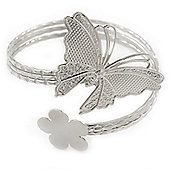 Silver Plated Hammered Butterfly & Flower Upper Arm, Armlet Bracelet - Adjustable