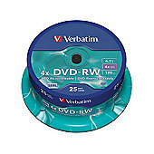 Verbatim DVD-RW 4.7GB 4x Spindle - Matt Silver (25 Pack)