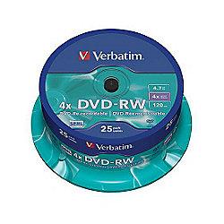 Verbatim 4.7 GB 1x-4x DVD-RW Disc 25 Pack