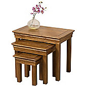 French Chateau Rustic Solid Oak Nest of 3 Tables