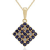 Gemondo Gold Plated Sterling Silver 0.67ct Iolite & Diamond Pendant on 45cm Chain