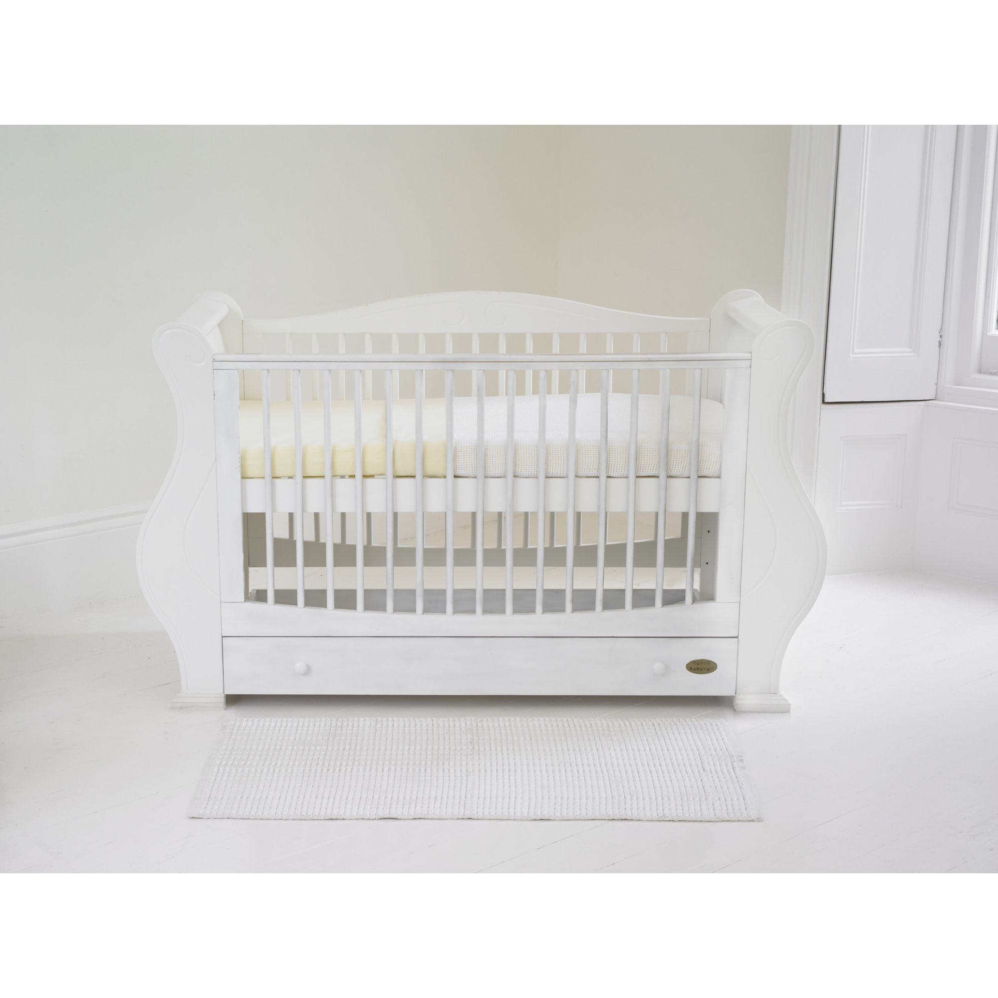Tutti Bambini Louis Sleigh Cot Bed with Drawer in White at Tesco Direct