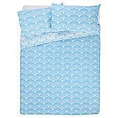 Tesco Basics Fan Print Duvet Cover And Pillowcase Set,  Blue, - Teal